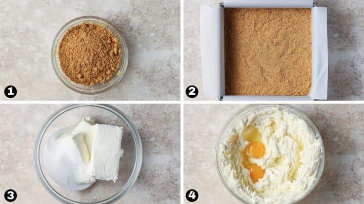 Steps 1-4 for making lemon cheesecake bars.