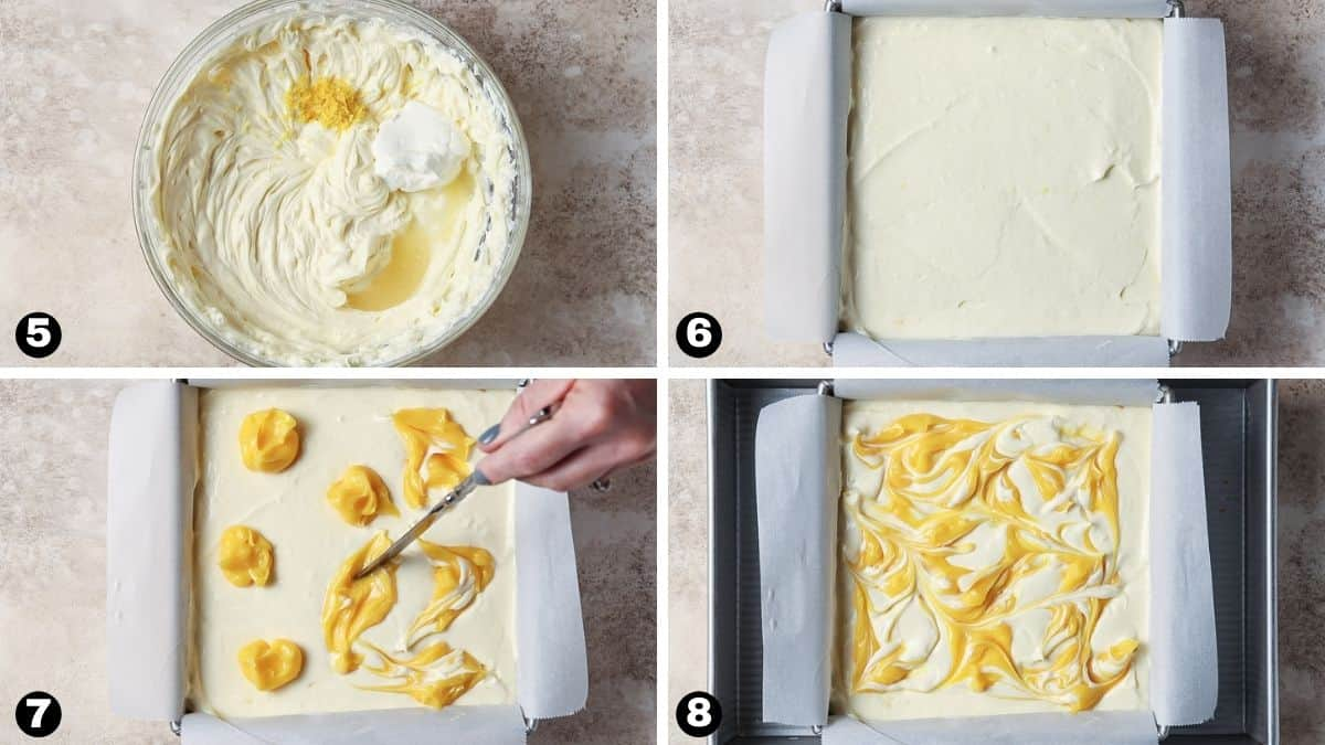 Steps 5-8 for making lemon cheesecake bars.