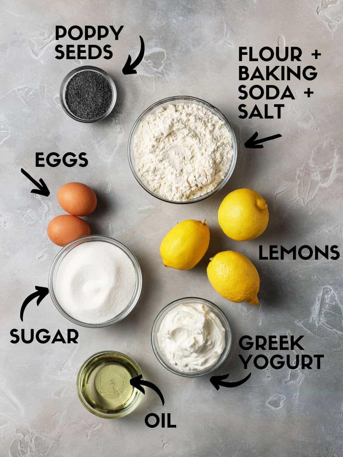 Ingredients for lemon poppy seed bread made with greek yogurt.