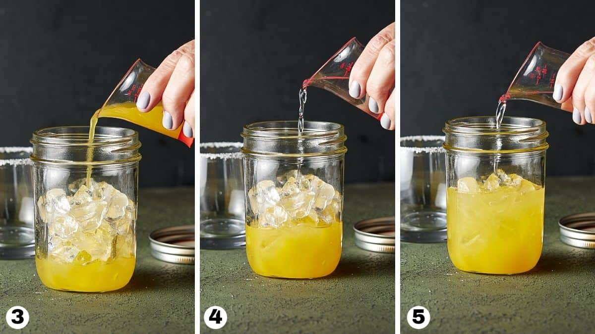 Adding juice and liqueurs to a cocktail shaker filled with ice.