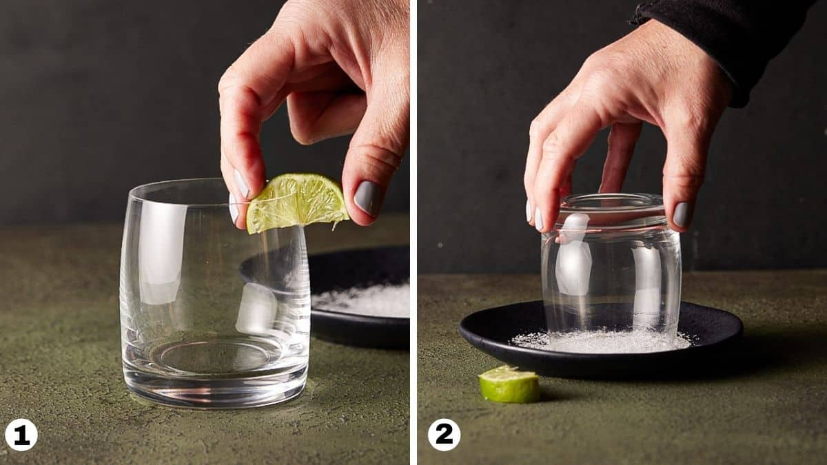 Rimming cocktail glass with lime wedge and salt.