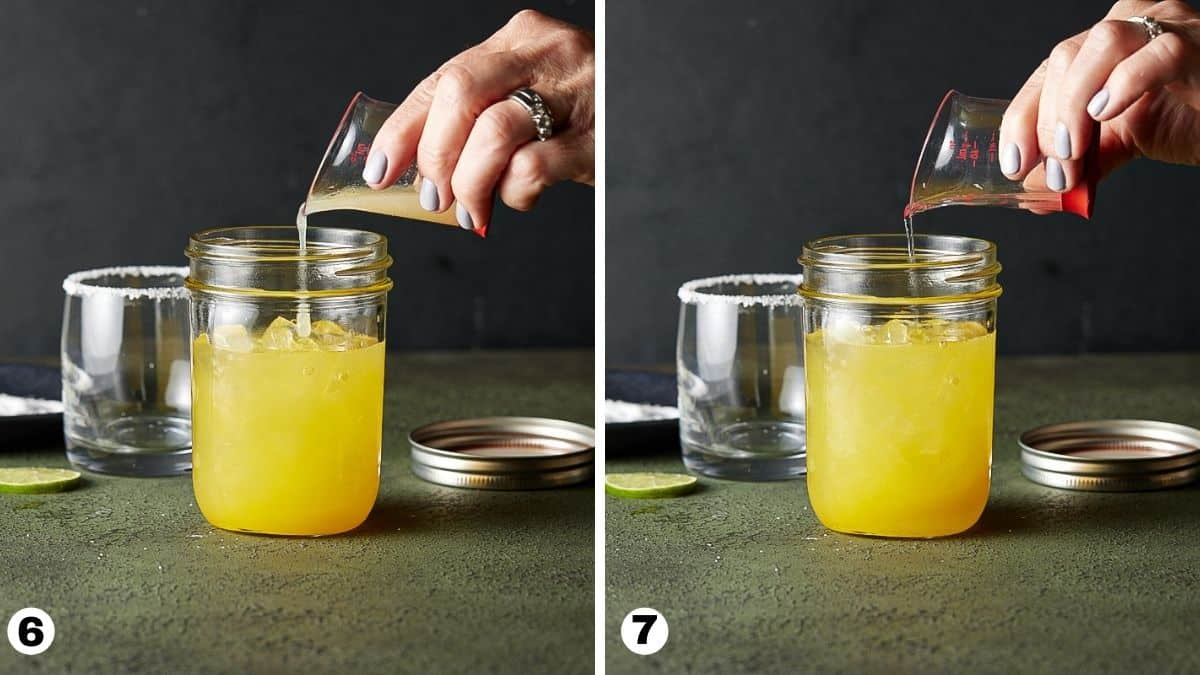 Adding liqueur and juice to a mason jar cocktail shaker filled with ice.