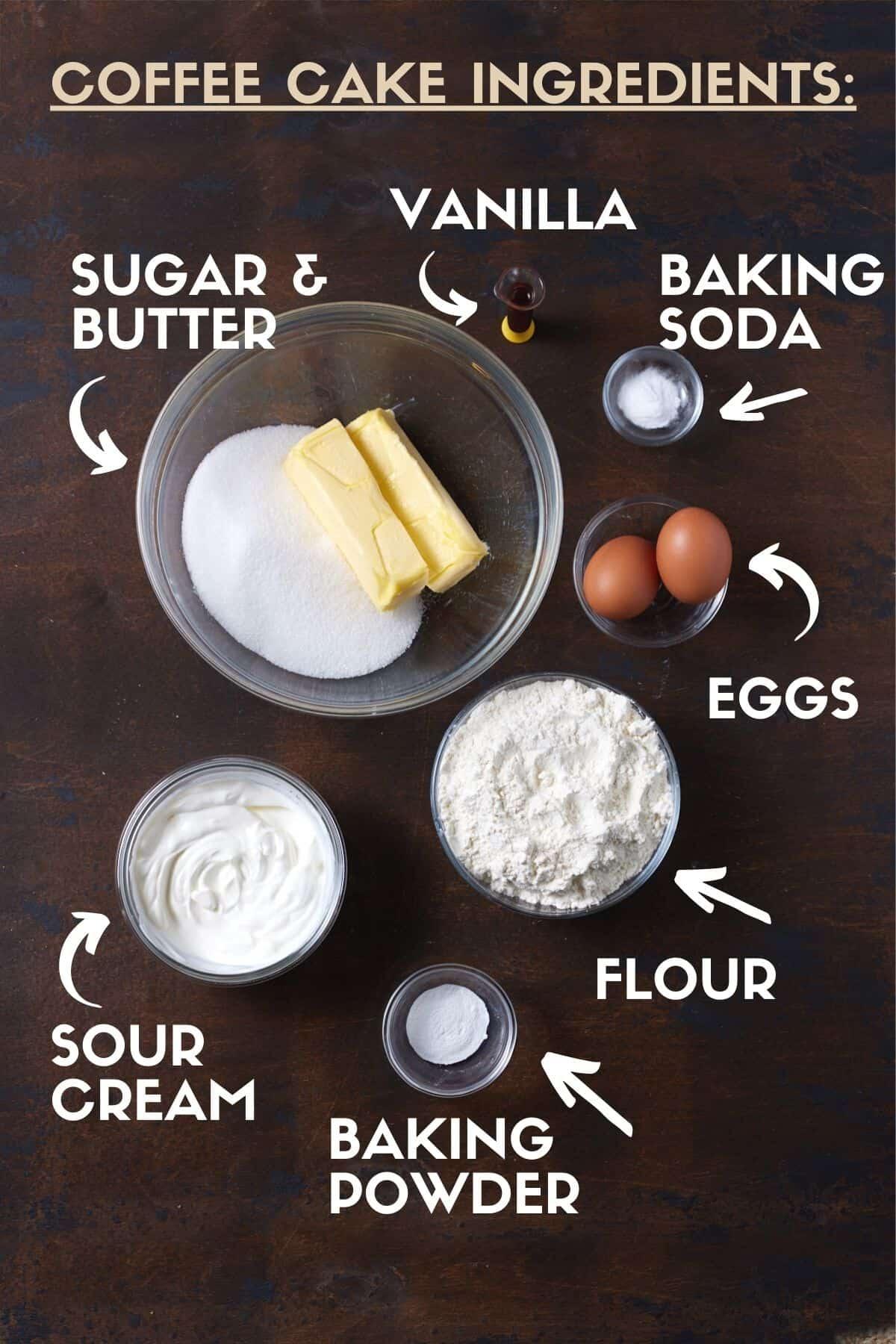 Sour Cream Coffee Cake ingredients, including butter, sour cream, sugar, eggs & flour.