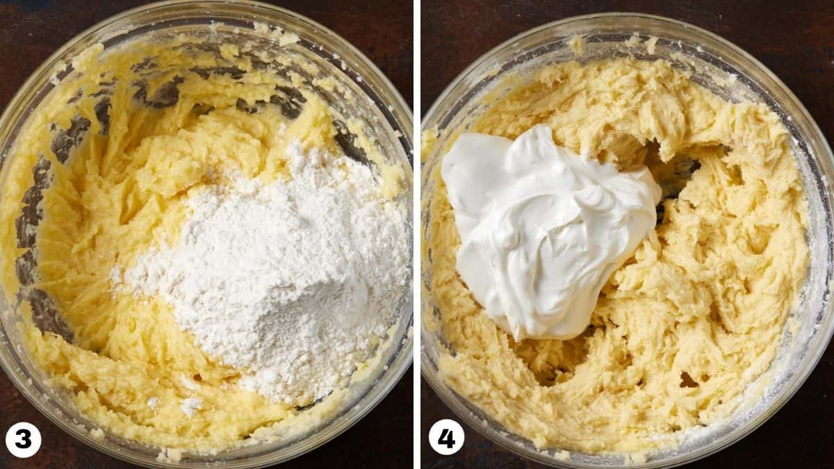 Sour cream coffee cake batter with flour and sour cream in a glass bowl.