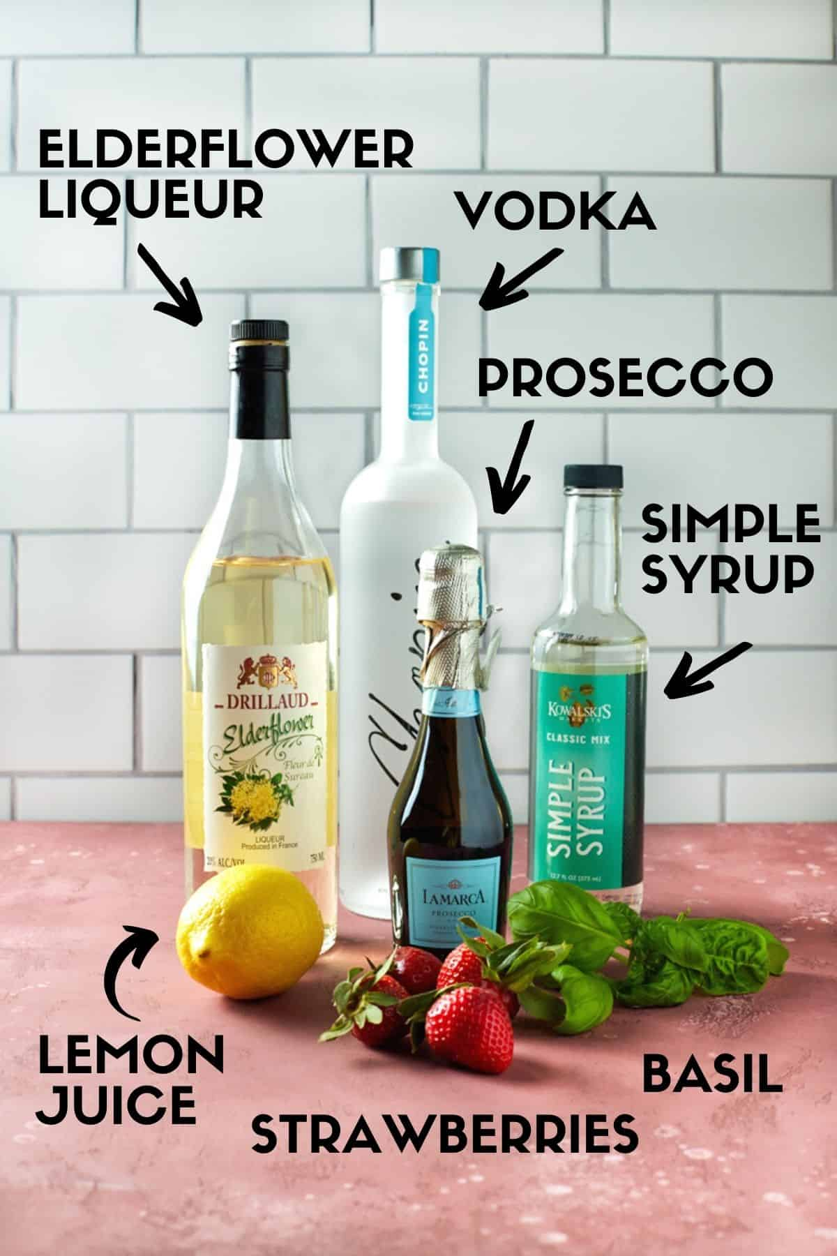 Ingredients for Vodka Strawberry Cocktails.