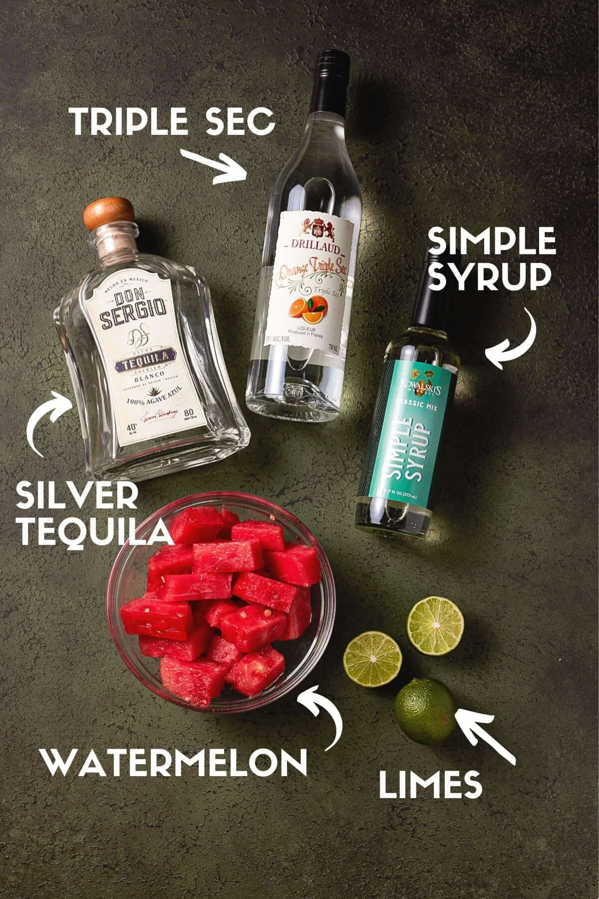 Watermelon Margarita ingredients including silver tequila, triple sec and lime juice.