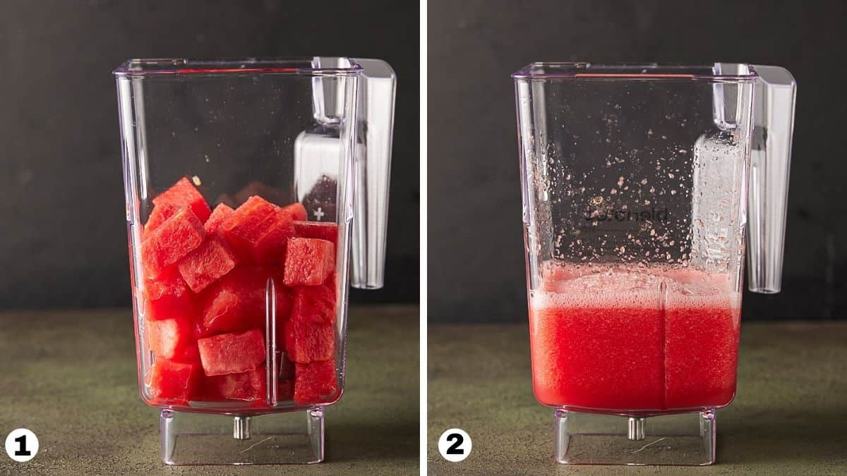 Watermelon chunks in a blender and pureed.