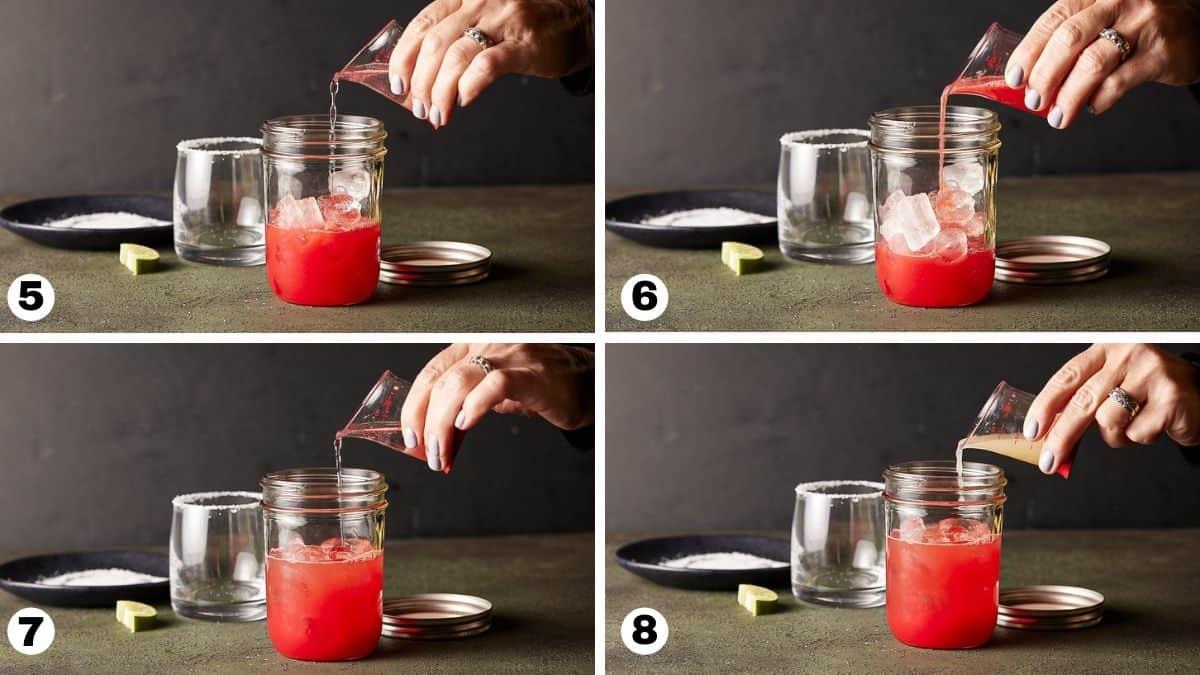 Pouring liqueurs into mason jar to make watermelon margaritas.