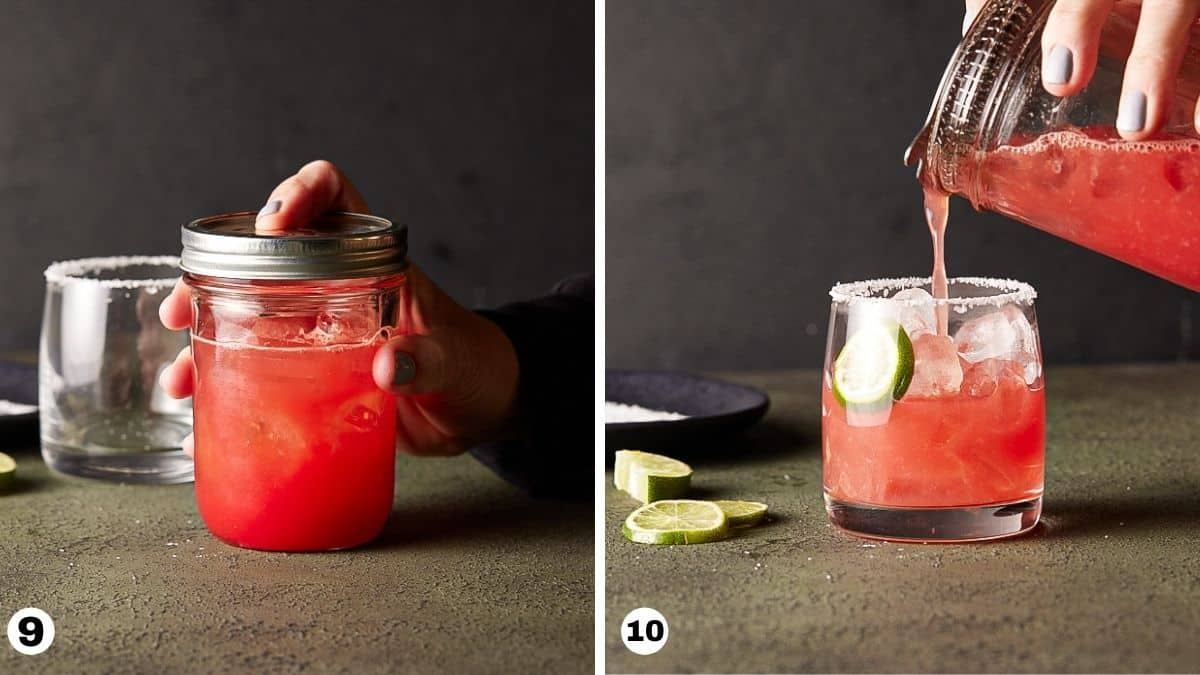 Pouring watermelon margarita into ice-filled cocktail glass garnished with lime wheel.