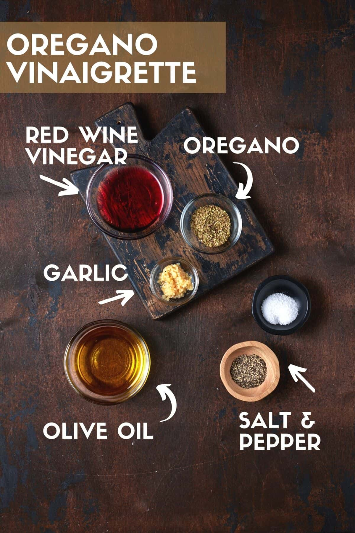 Oregano vinaigrette ingredients for chickpea salad.