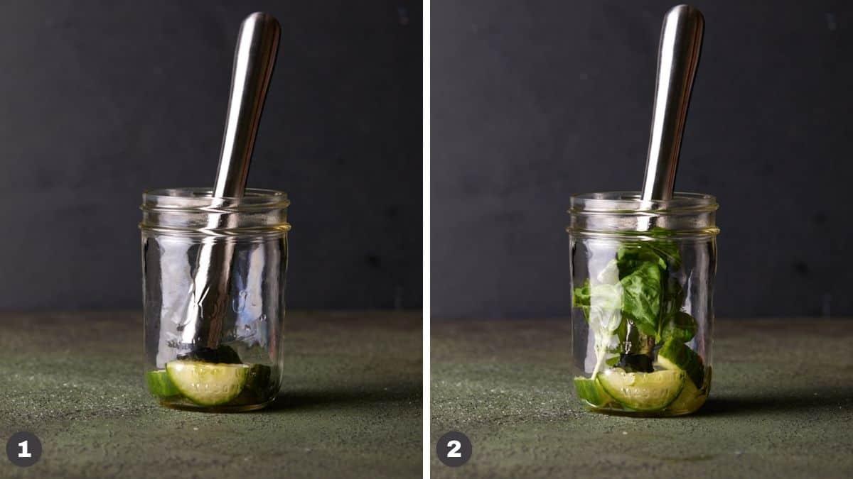 Muddler in mason jar with cucumber and basil.