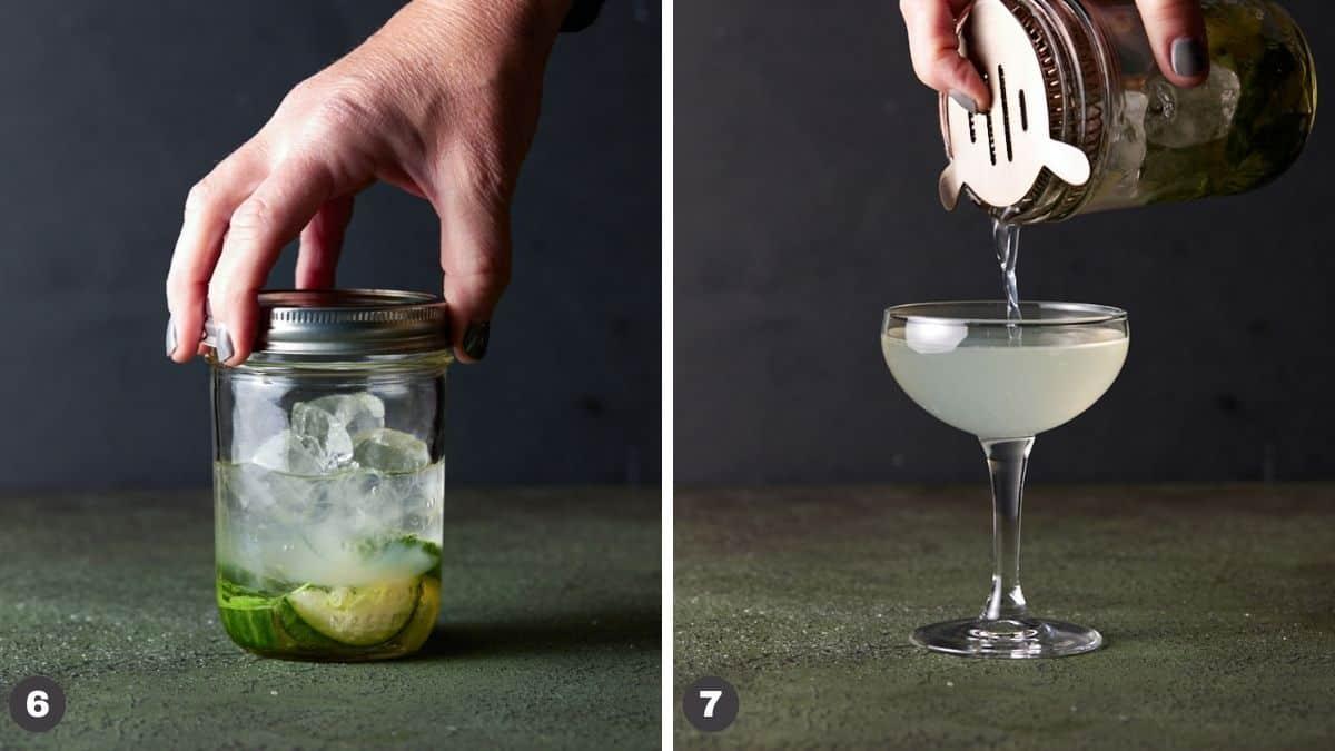 Hand holding mason jar straining contents into glass.