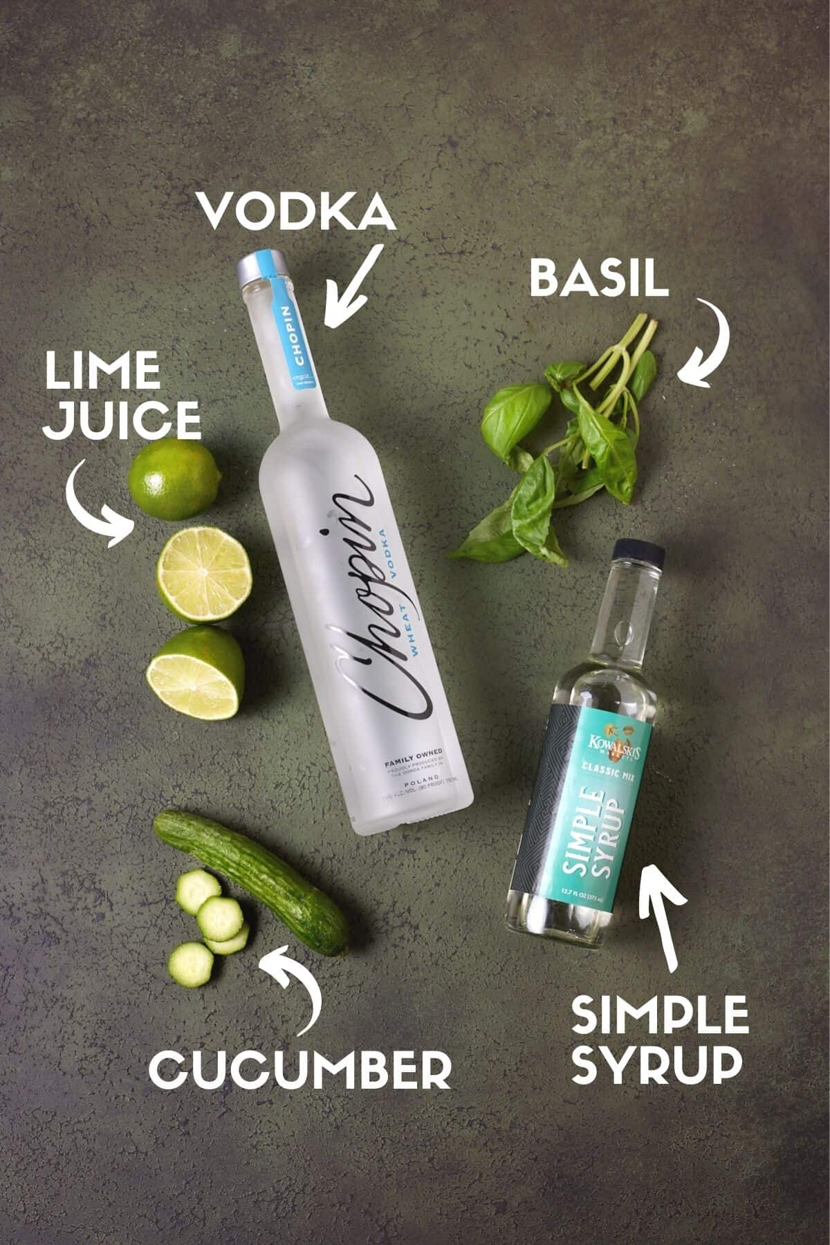 Ingredients for cucumber gimlet, including vodka, cucumbers, basil, lime juice & simple syrup.