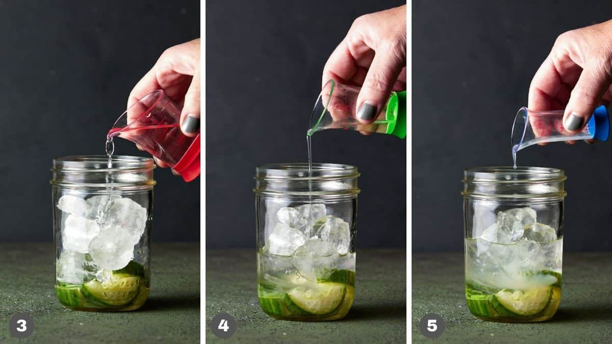 Jiggers pouring liquor into mason jar.