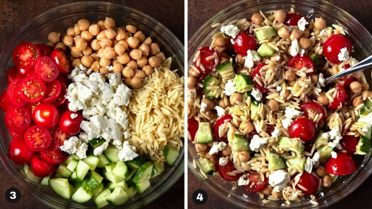 Orzo and Chickpea salad recipe ingredients in a glass bowl.