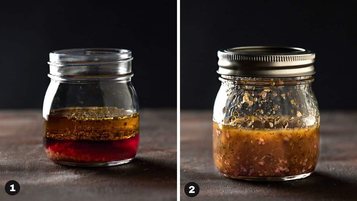 Oregano vinaigrette in a mason jar.