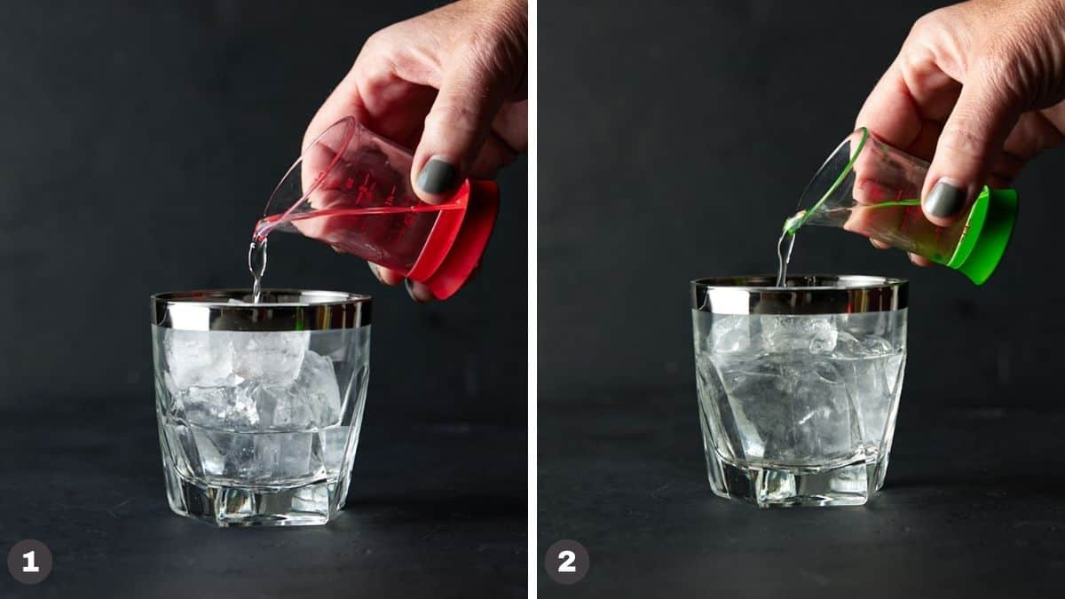 Hand pouring spirits into an ice-filled glass.