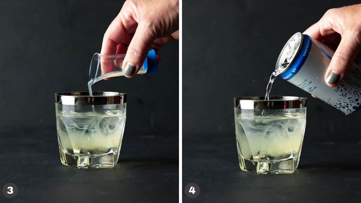 Hand pouring juice and club soda into lowball glass filled with ice.