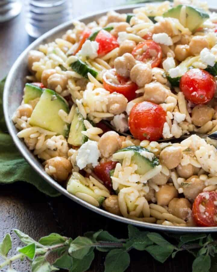 featured image for orzo salad.