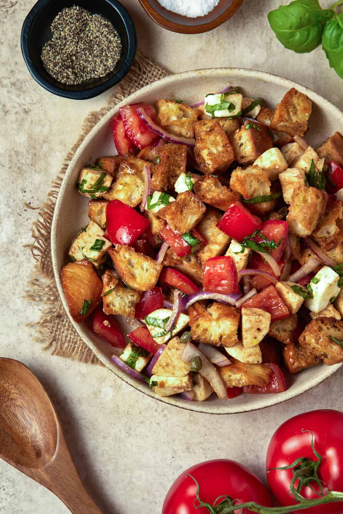 Bread and tomato salad in a ceramic bowl.