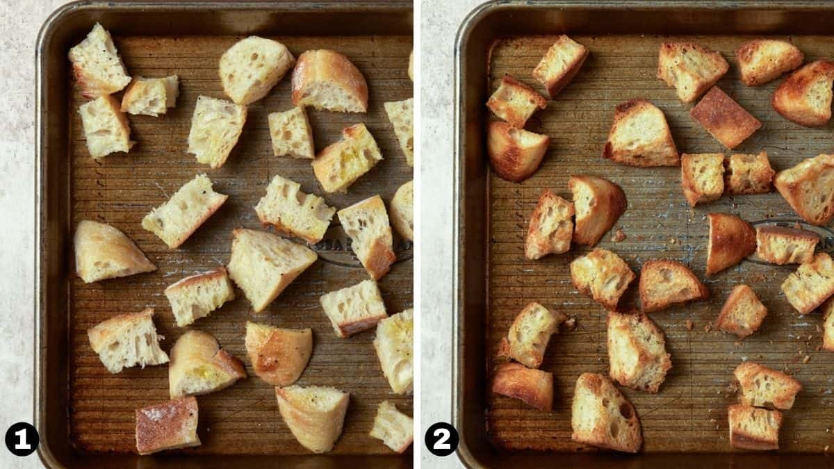 Toasted bread cubes on a sheet pan.