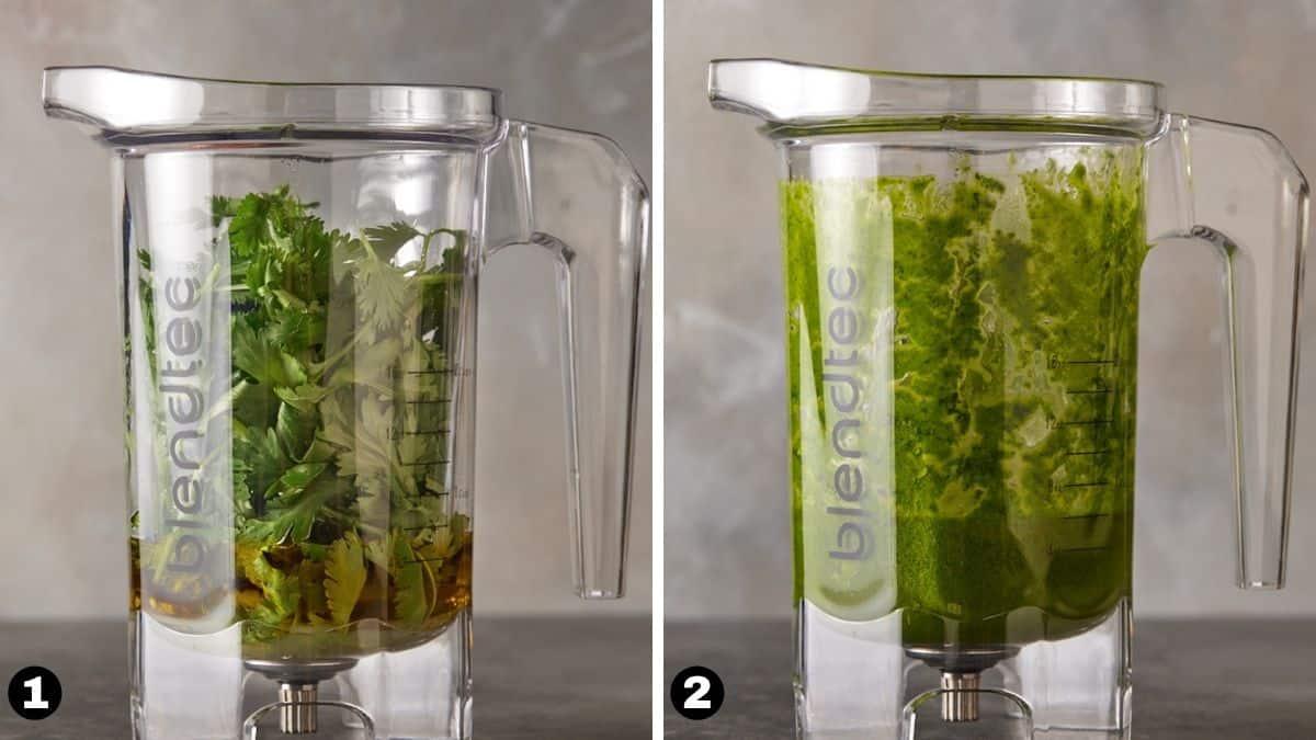 Cilantro Lime Salad dressing in a blender jar.