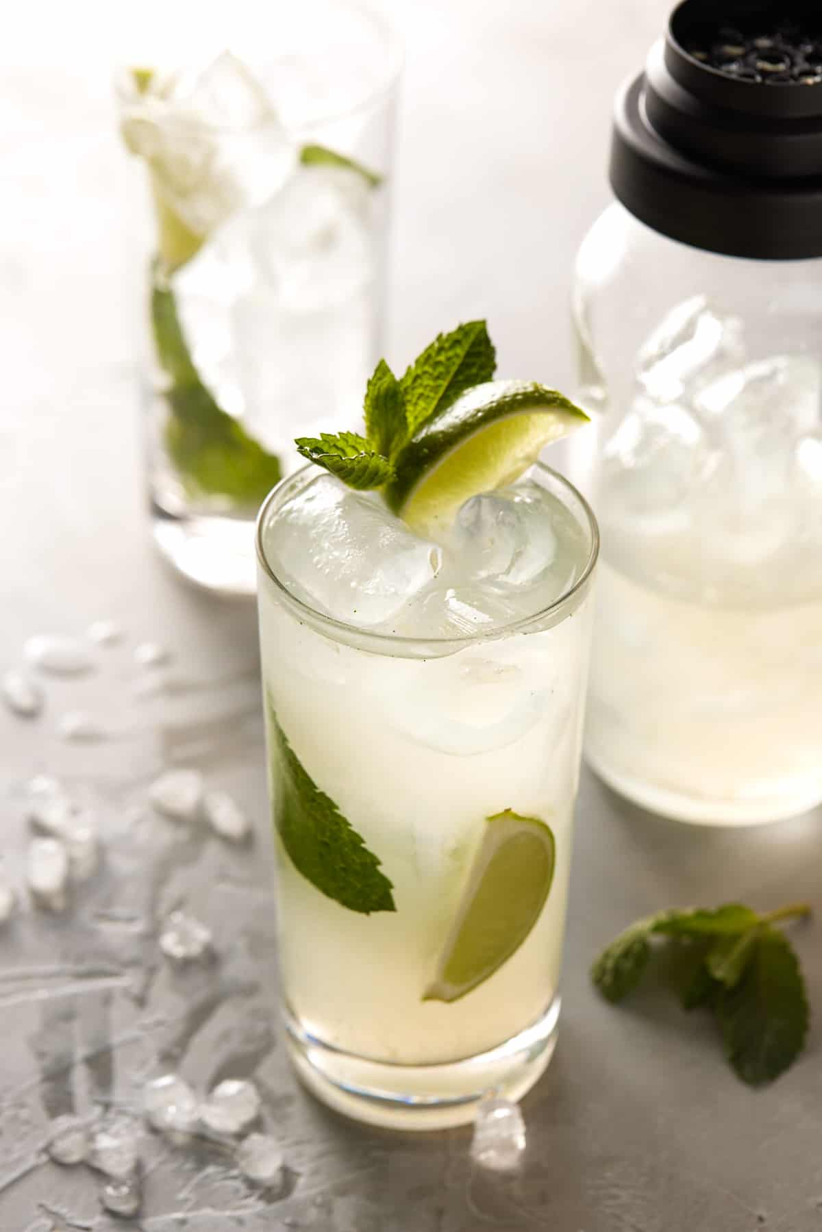 High ball glass filled with drink and garnished with mint leaves and lime wedges.