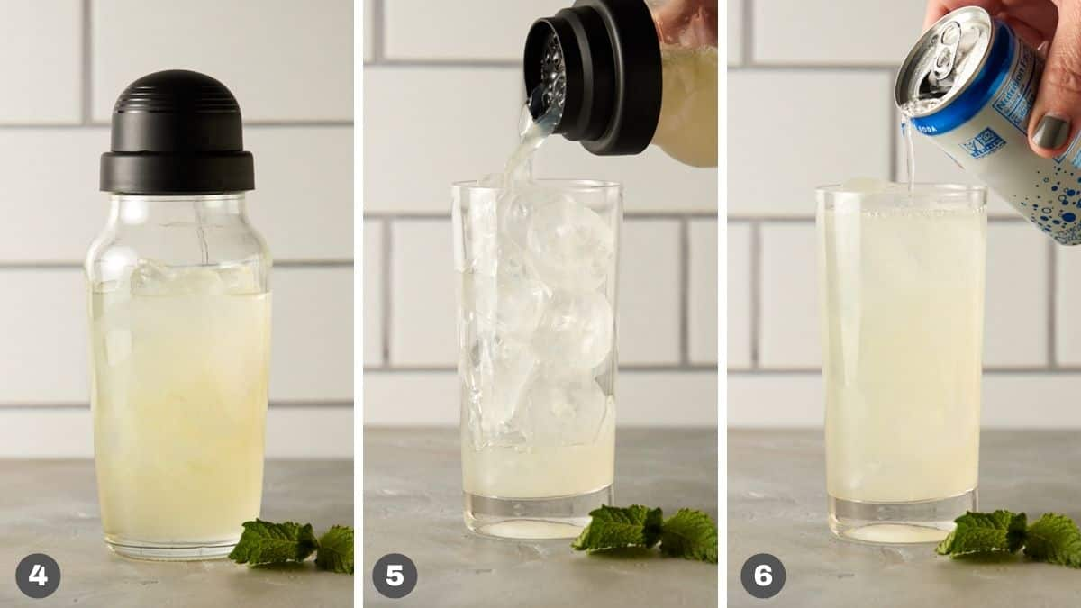 Steps 4-6 for tequila mojito.