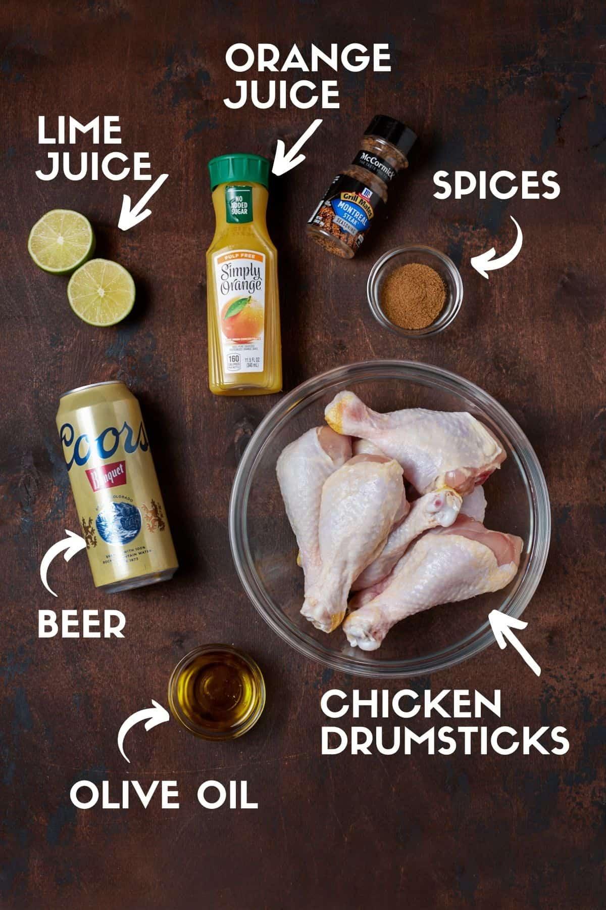 Ingredients for chicken legs.
