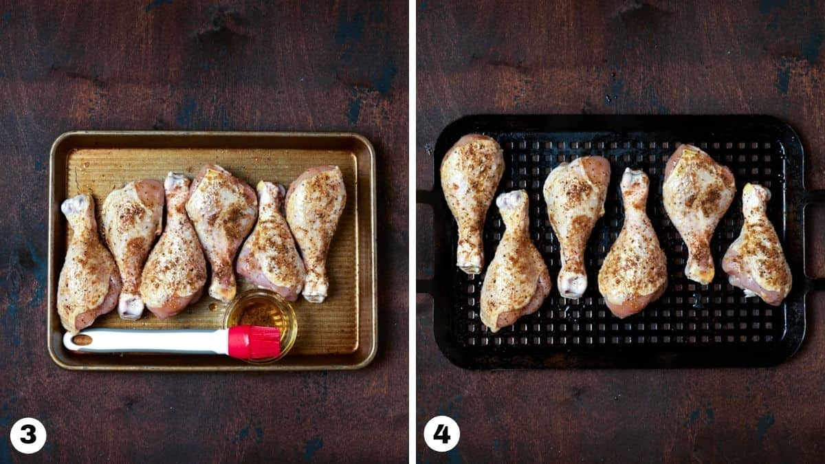 Chicken legs on sheet pan and grill pan.