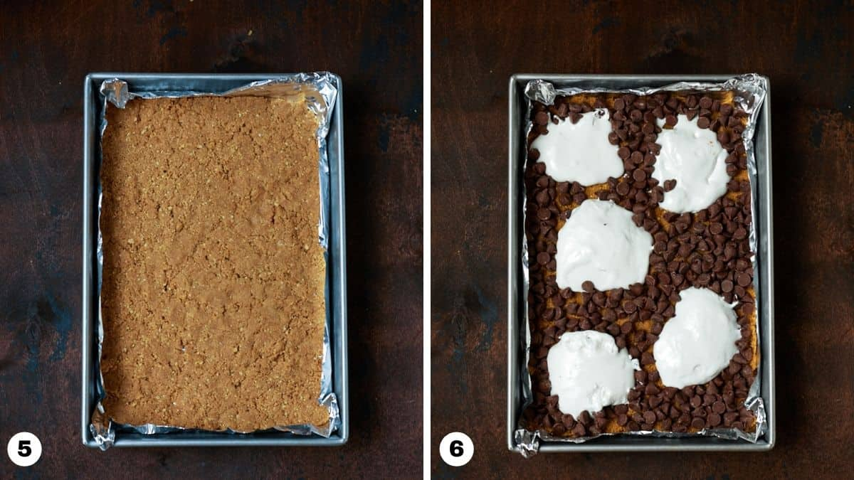Graham cracker crust pressed into pan and topped with chocolate chips and marshmallow creme.