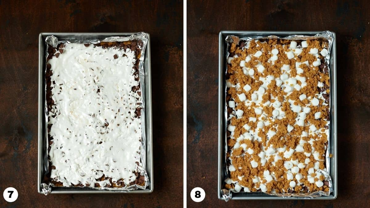 Pan of s'mores bars ready to go into the oven.