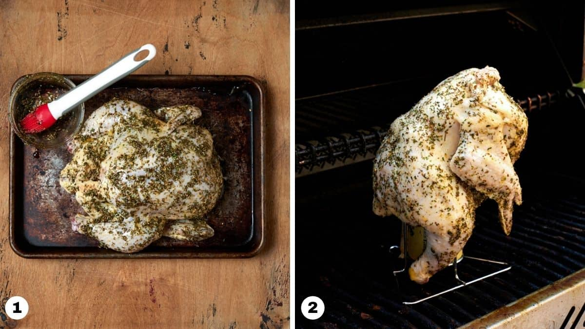 Raw whole chicken covered in seasoning and set on vertical roaster on grill.