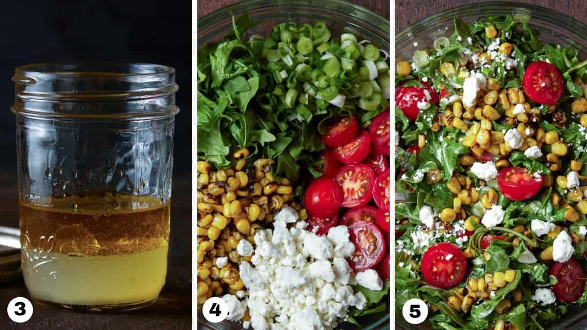 Goat cheese salad steps 3-5.