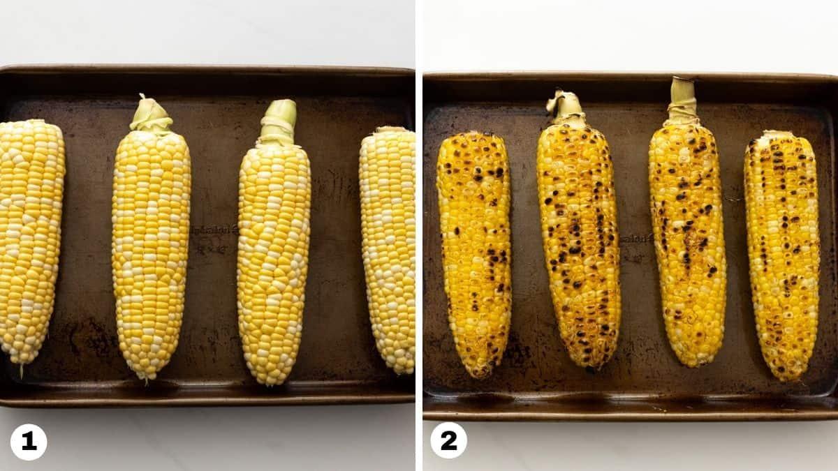 Corn on cobs on a sheet pan.