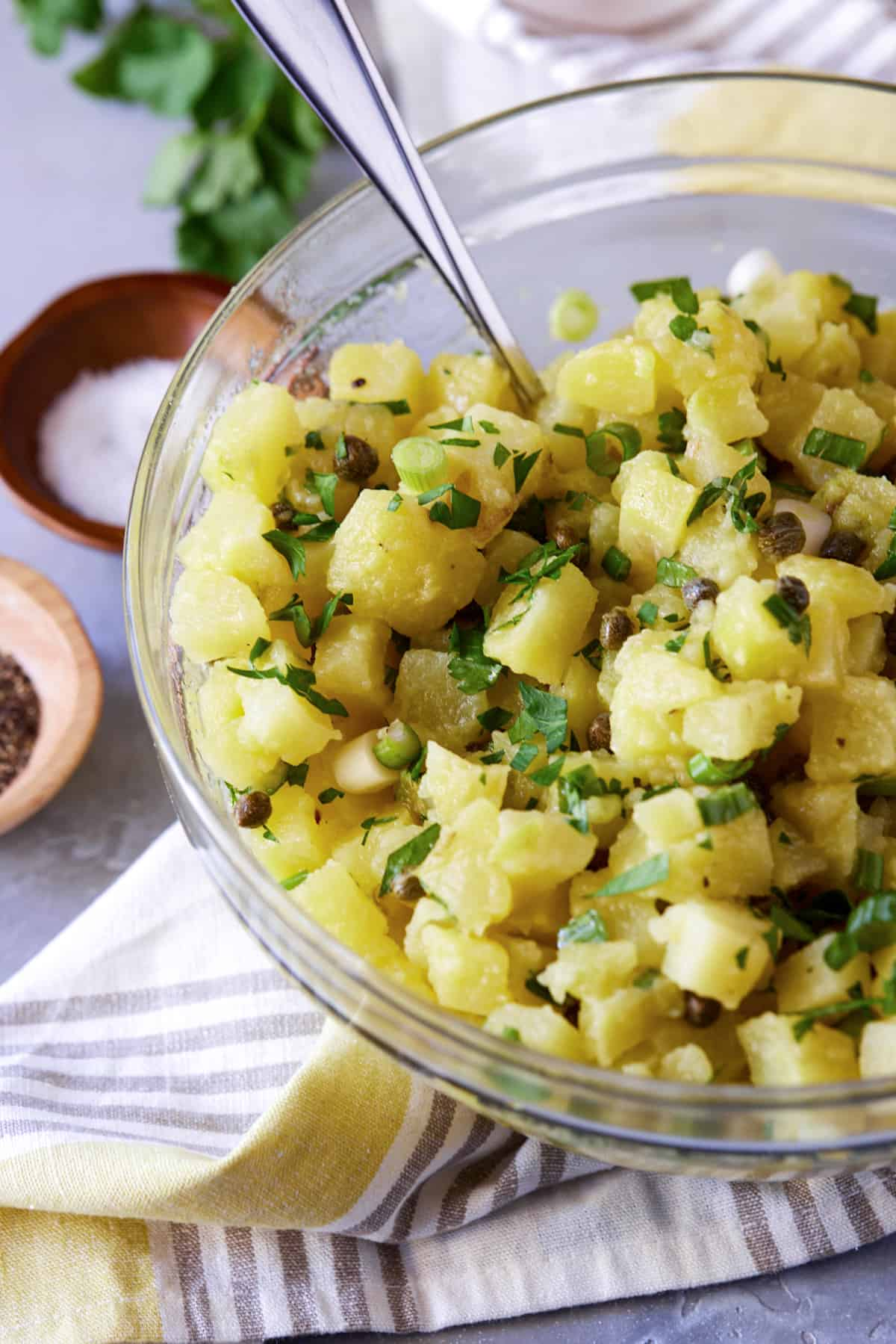 Bowl of potato salad on table with salt and pepper.