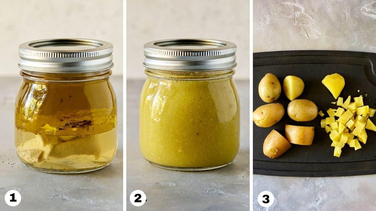 Steps 1-3 for making no mayo potato salad.