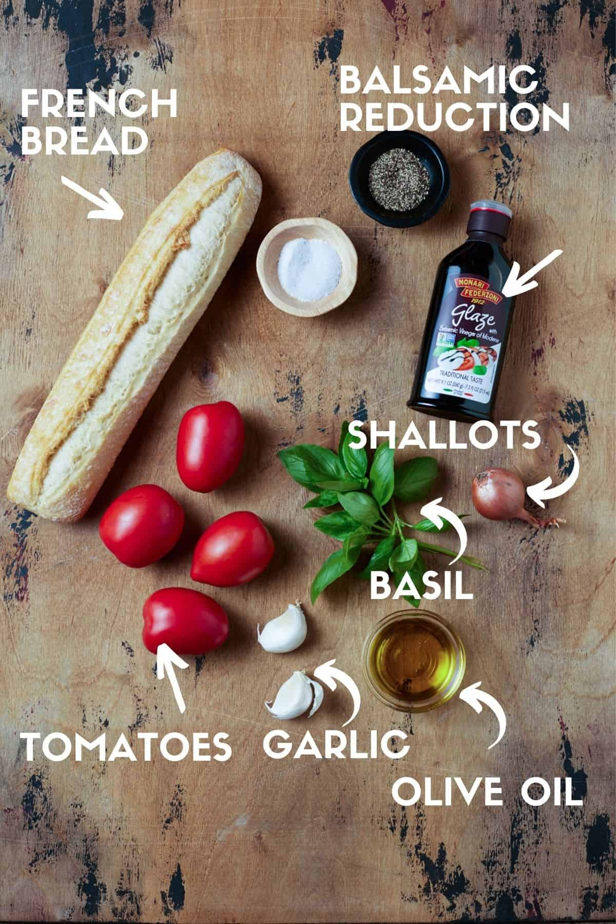 ingredients needed to make tomato bruschetta