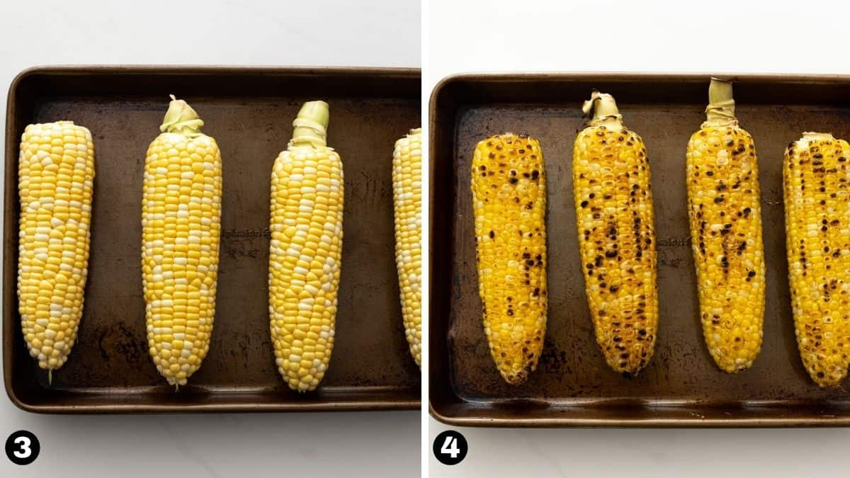 Unroasted and roasted corn on the cob on a sheet pan.