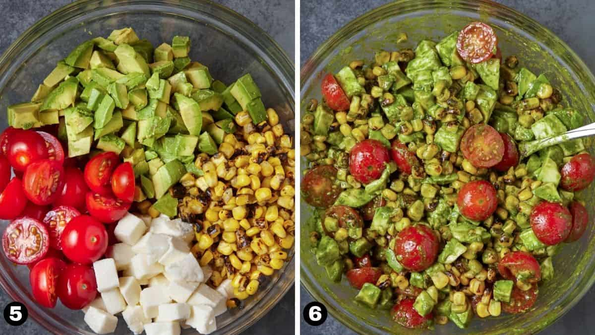 Grilled corn salad ingredients mixed together in a glass bowl.