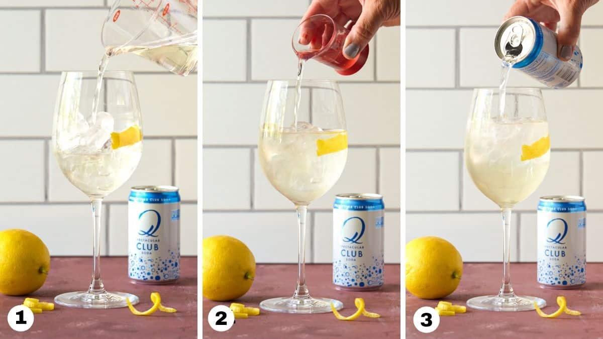 White wine Spritzer steps 1-3.
