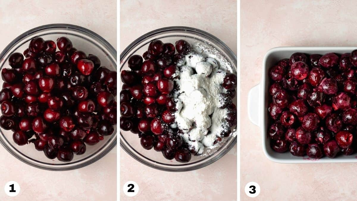 Steps 1-3 for making a cherry crisp: adding pitted cherries to bowl, stirring in sugar and corn starch, and adding to pan.