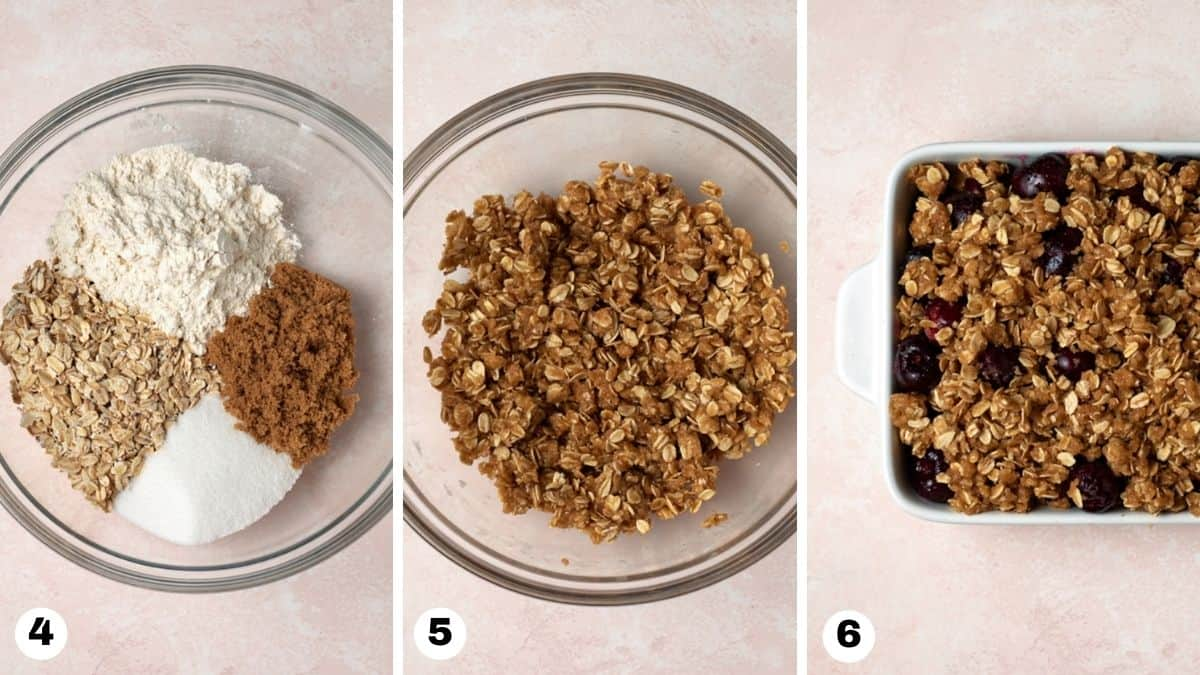 Steps 4-6 for making cherry crisp: stir together topping ingredients in a bowl and crumble on top of cherries in pan.