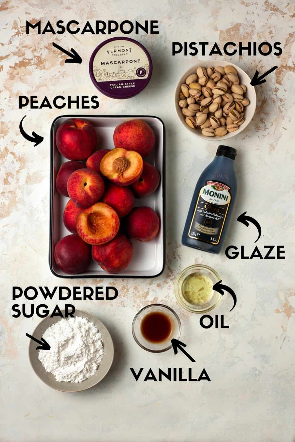Ingredients for Grilled Peaches including peaches, pistachios and mascarpone cheese.