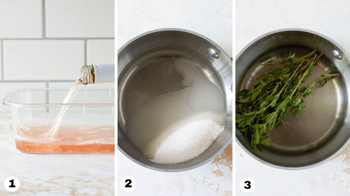 Steps 1-3 to make Frosé recipe. Pour wine into container. Add sugar, water and herbs to small sauce pan.