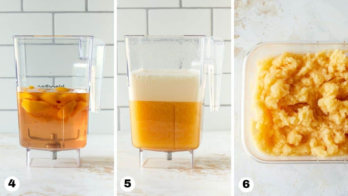 Steps 4-6 to make Frosé: add ingredients to blender and freeze in container.