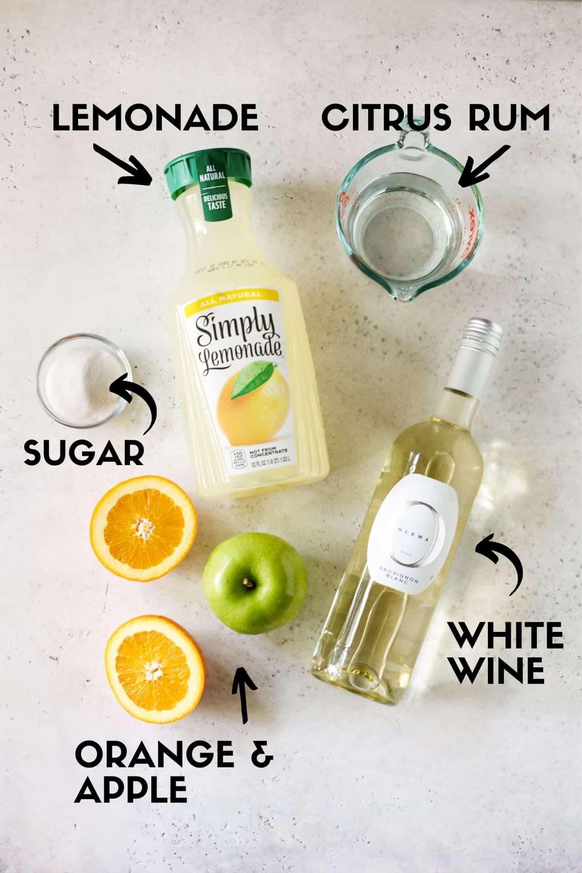 ingredients for rum lemonade sangria.