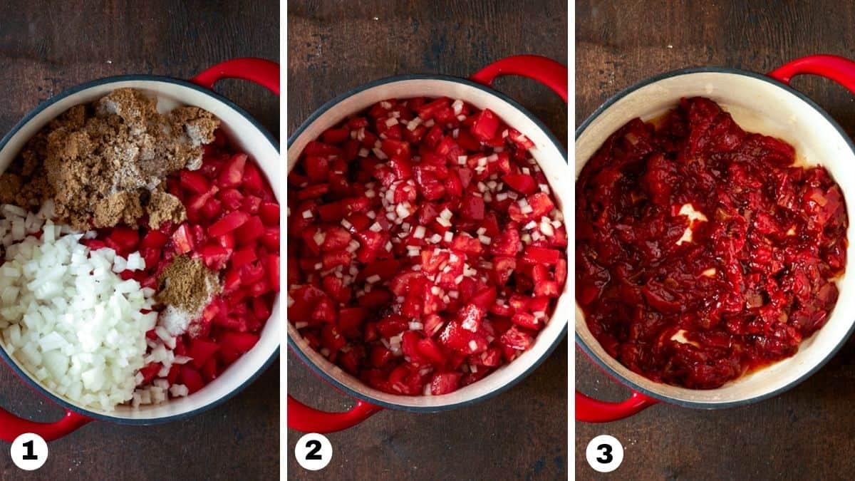 Tomato jam ingredients in a red dutch oven.