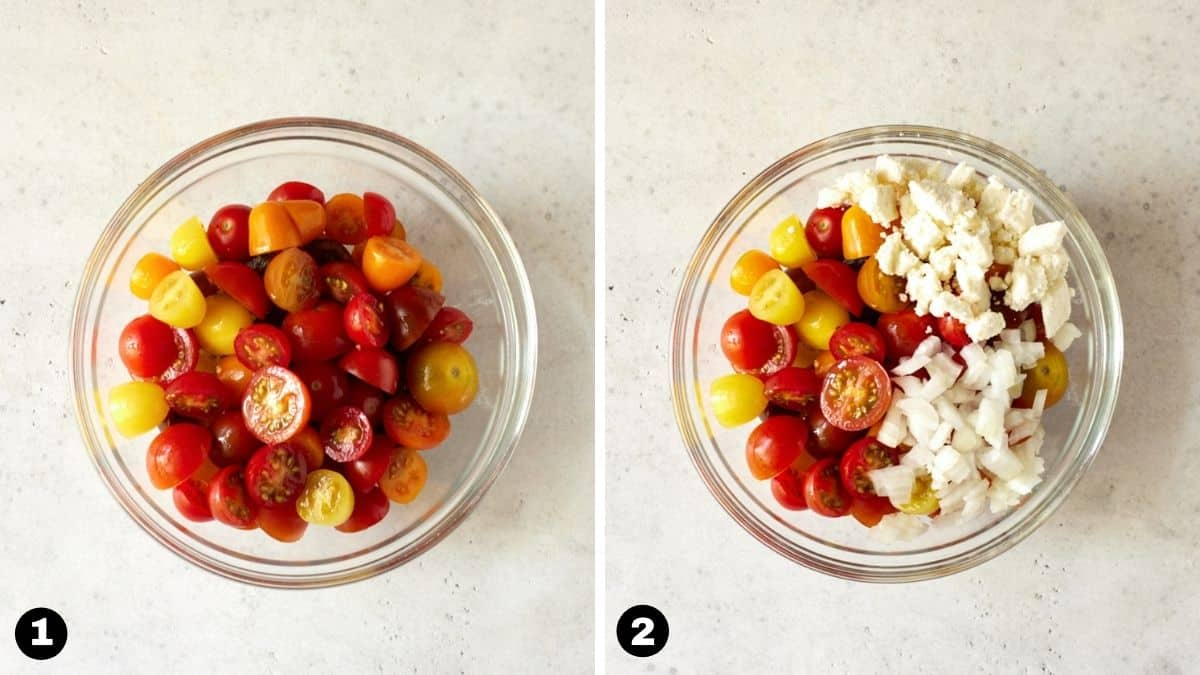 Cut tomatoes in a glass bowl with chopped onion and feta cheese.