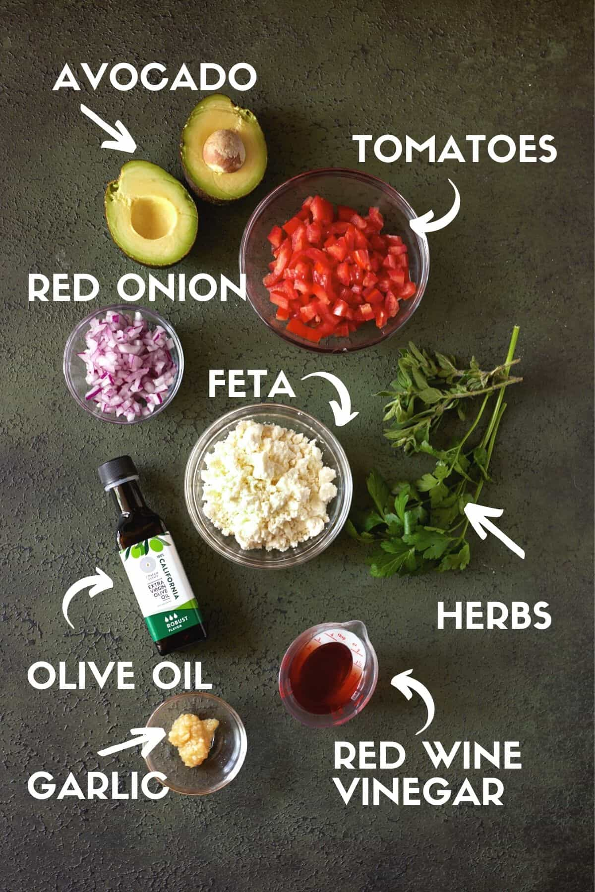 Ingredients for Avocado salsa.